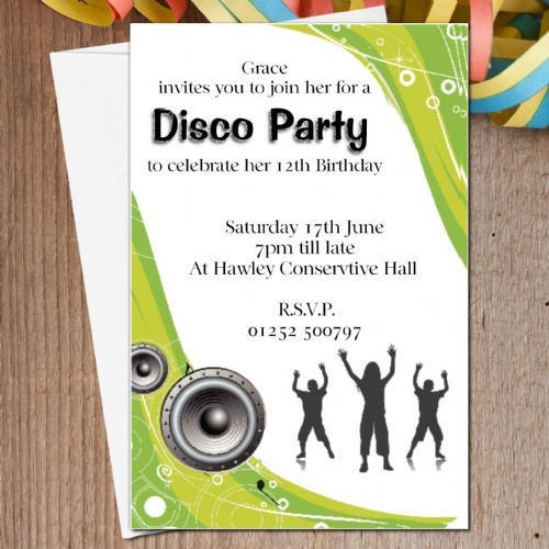 10 Personalised Disco Dance Birthday Party Invitations N9